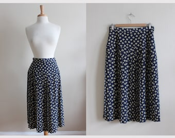 Vintage Navy Rose Print Maxi Skirt