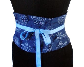 Snowflake Corset / Winter Ice Queen Waist Cincher / Batik Blue Obi / Winter Wedding / Bridesmaid Sash / Let it Snow! / Steel Boning