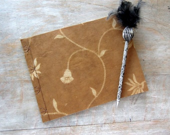 Softcover Guest Book, Natural Floral with unlined parchment pages, Ready to Ship