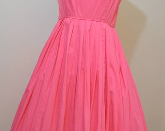 1950s pink sundress / 50s cotton sundress/ 50s sundress