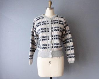 vintage lambswool cardigan / checkered cardigan / angora sweater