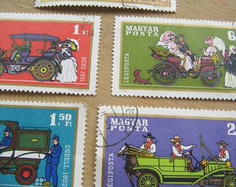Magyar Posta Stamps - Classic Old Cars - Postage Stamps - Paper Stamp - Old Stamps - Retro Stamps - Vintage Cars - Old Motor Cars
