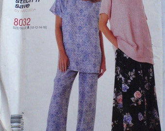Pullover Top, Pull-on Skirt and Pull-on Pants - Stitch and Save Sewing Pattern - McCall's 8032 - Sizes 10-12-14-16, Bust 32 1/2 - 38, Uncut