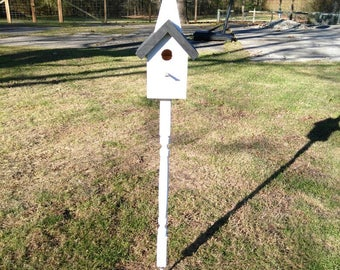Church Birdhouse on Spindle ( with steel stake)