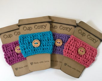 2 for 12/Crochet Cup Cozy/Basketweave Design/Gift Giving/Reusable/Coffee Sleeve/EcoFriendly/Cotton Yarn