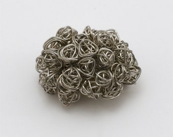 Unique Sculpted Silver Wire Bouquet Pin / Brooch / Broach