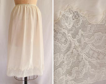 1960s Half Slip | Charm | Vintage 60s Lingerie White Nylon Tricot Petticoat Lace Trim and Embroidery at Hem Size L