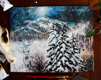 Original Painting - Winter Landscape - Mystic Wolf - Mixed Media Painting