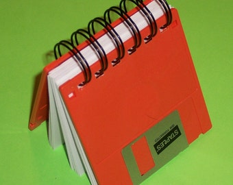 Recycled FLOPPY DISK made into a Geek Gear Notebook ORANGE