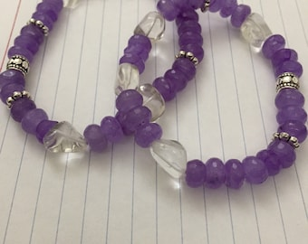 Natural Lavender Jade & Crystal Quartz Bracelet, Wrist jewelry, Peaceful and Tranquil crystals, Stone Bracelet