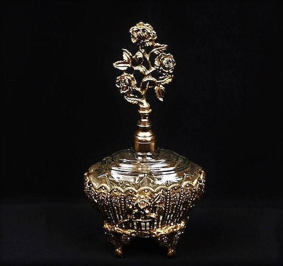 Ormolu Perfume Bottle / Hollywood Regency / Glass Dauber / Roses