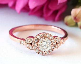 Diamond Halo Engagement Ring, 0.4 Ct Center Diamond Ring, Unique Engagement Ring, Cluster diamond engagement ring, Wedding Jewelry 'Rome'