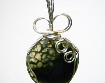 Wire Wrapped Pendant - Handcrafted 2-Sided Beautiful Black Dragon Vein Agate, Wrapped in .925 Sterling Silver by JewelryArtistry - P752