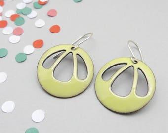 Light Yellow Enamel Earrings with Sterling Silver Earwires - Modern Summer Jewelry - Gift for Women / Bell Flower