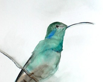 Watercolor Painting - Bird Art Watercolor - August - Hummingbird Painting - Large Print 24x30 - Poster