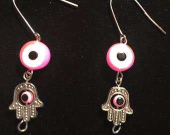 Hot Pink Repurposed Hamsa & Evil Eye Earrings