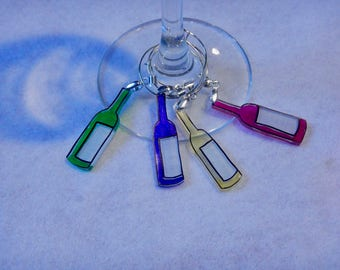 """wine bottle wine charms, 100% recycled, """"shrinky dink"""""""