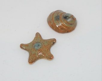 Handmade Ceramic Cabochons Earthenware small tiny set of Starfish and shell brown green