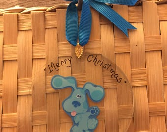 E302 New PERSONALIZED Blues Clues Handmade Glass Toddler Birthday Party Favor Ornament