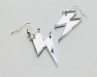 Lightning | Bowie | Lady Gaga | Bolt | Weather | 80s | Laser Cut | Acrylic | Earrings