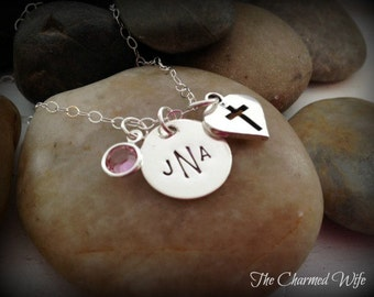 First Communion Gift Ideas - LIttle Girls Monogrammed Jewelry - Confirmation Necklace - First Communion Gifts - Personalized - Religious