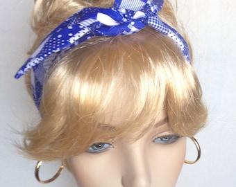Skinny Self Tie Headband Rockabilly Dolly Bow Headwrap Retro Pin Up Blue and White Pattern