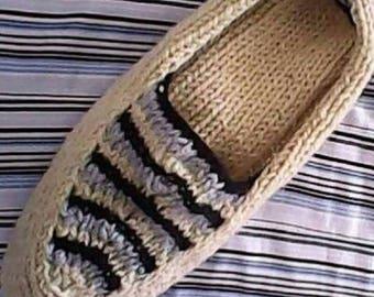 Mаn slipper socks. Mеn socks. Hand knit wool slipper socks. Wool socks. Bed socks. House socks. Indoor socks. Chausson laine