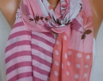 Pink & coral Scarf Summer shawl Scarf Gift Ideas For Her Women Fashion Accessories best selling item scarf