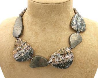 Emulsion: orbicular Jasper and pyrite necklace