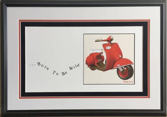 8 x 10  Red Moped - Framed ArtCard