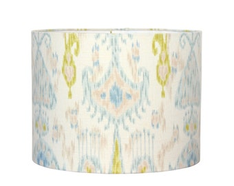 Custom Lamp Shade - Ikat Fabric - Drum Lampshade - Blue and Green - Coastal Cottage - Modern Drum Shade
