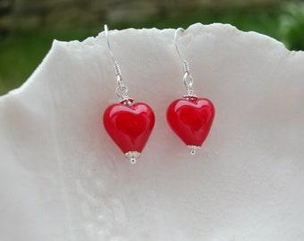 Red Heart Earrings In Murano Glass, Red Venetian Earrings