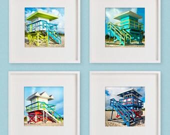 Beach Photography Series 1: Lifeguard Stand, Hut, South Beach Miami –Set of 4, Photograph Prints, Miami Beach, Summer Photos, Bright Fun Art