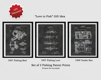 Set of 3 Fishing Patent Prints - 1907 Fishing Reel Patent - 1907 Fishing Lure Patent - 1909 Tackle Box Patent -  Fathers Day Gift