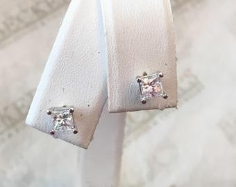 Vintage pair of 14k white gold Princess Cut Diamond Stud Earrings .66 tw, I-VS2-SI1
