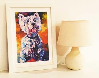 Giclee print of original painting by Mai Kelleher, West Highland Terrier, dog painting, art print, animal art, wall art, dog decor, gift