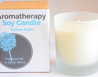 Aromatherapy Soy Candle in frosted glass container (8oz)