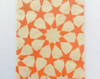mini linocut - STARS // 3x5 art print // printmaking // block print // tessellation // geometric // original // orange // miniature, small
