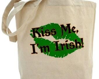 Kiss Me I'm Irish Tote - Cotton Canvas Tote Bag
