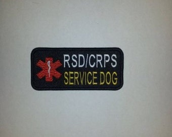 RSD/CRPS Service Dog - Pick Color Combo Rectangle Embroidered Patch Sew On