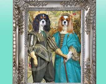 FRAMED Tri & Blenheim Cavalier King Charles Spaniels Couple 8 x 10 Giclee Print Picture-Anthropomorphic Anthro Art Dog Wearing Clothes