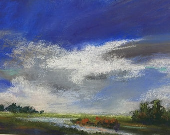 "Original Impressionist Pastel Painting of Cloud Study over Marsh, 5"" x 7"""
