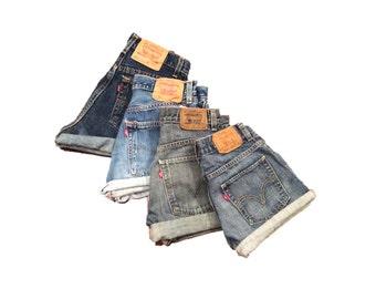 Levi's Shorts high waisted cutoffs cuffed Grunge summer I xs s m l xl xxl  hipster Daisy Dukes festival boho indie distressed holes cut offs