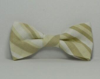 Khaki Stripe Bow Tie, Boy's Bow Tie, Tan Bowtie, Children's Bow Tie, Ring Bearer Outfit, Wedding, Toddler, Baby, Teen