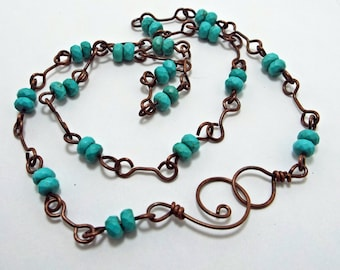 Turquoise and Copper Necklace Rustic Patina  Gemstone Handmade Chain