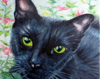 Original custom cat portrait painting from your photo, oil painting on canvas, cat dog or any animal painting, example black cat