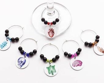 Hostess Medical Gift Wine Glass Charms Housewarming anatomy theme anatomical heart brain skull goth doctor nurse party favors school student