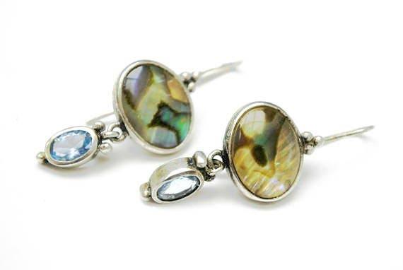 Abalone Sterling dangle Earrings Blue open back glass  Drop pierced earrings