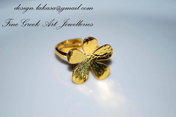 Flower Ring Sterling Silver Gold plated Jewelry Lakasa eShop gifts floral design amor love anniversary princess woman best ideas