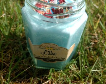 Litha Candle|Midsummer Candle|Ritual Candle|Jade Crystal Candle|Scented Candle